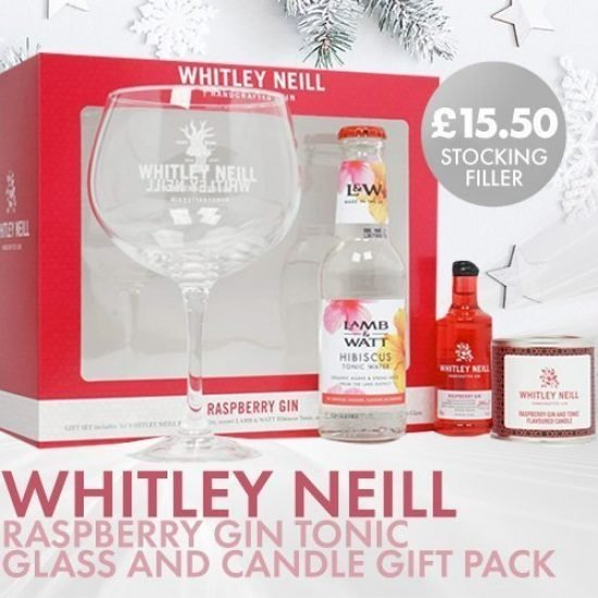 Whitley Neill Raspberry Gin Tonic Glass and Candle Gift Pack